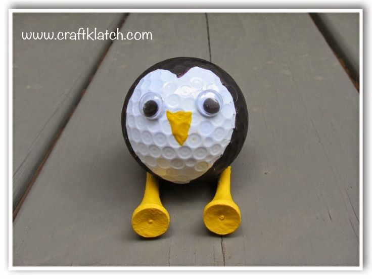 penguin, golf ball, golf ball craft, recycle golf balls, recycle, recycling, craft, crafting, crafts, craft ideas, idea, ideas, cute, penguin craft, unexpected, unique, diy, gift, present