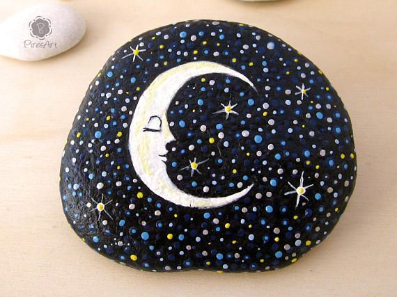Mond gemalt auf Rock Starry Night Malerei-Briefbeschwerer Rock Fantasy gemalt Ro
