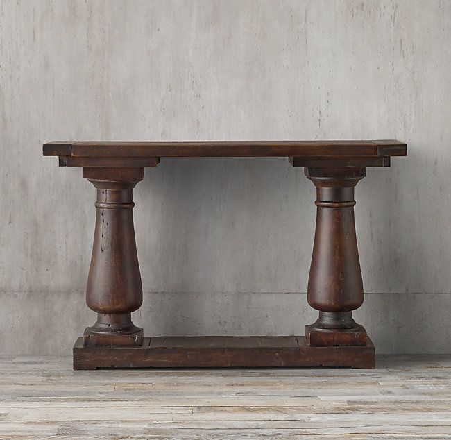 Balustrade Salvaged Wood Console Table Salvaged Brown Wood