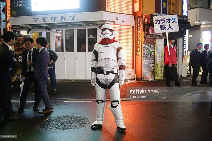 Jhon, 30 years old, dresses up as a Stormtrooper for Halloween on October 29, 2016 in Shibuya, Tokyo, Japan.