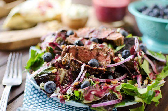 Steak & Bleu Cheese Salad with Blueberry Balsamic Dressing - Krafted Koch