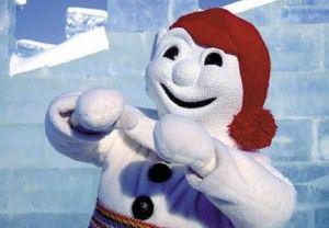Un représentant hivernal dela ville de Québec, le Bonhomme Carnaval
