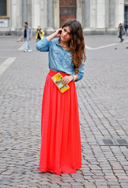 Maxi skirts: love this bright one with a chambray top