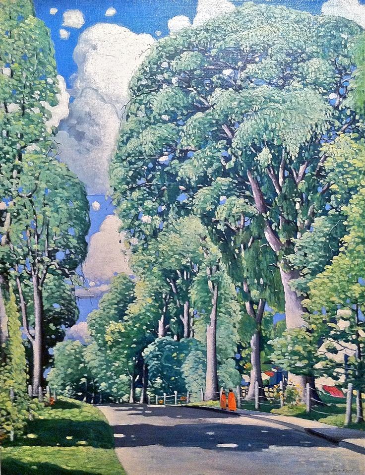 """Marc-Aurèle Fortin, """"Grands orme à Sainte-Rose"""" (c.1926). Huile sur toile. Source: Musée des Beaux-Arts de Montréal, Prêt de la collection Power Corporation du Canada."""