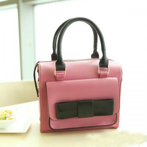Pink Faux Leather Top Bow Decor Sweet Handbag