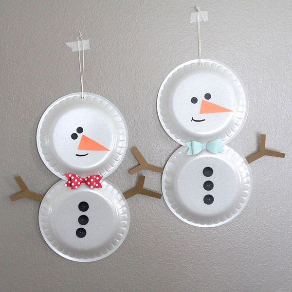 Easy Paper Strip Christmas Ornaments Kids Can Make: Simple Foam Plate Snowmen {easy Holiday Craft For Kids