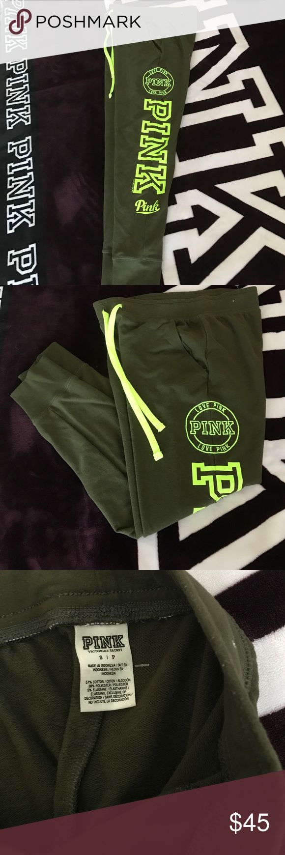 VS PINK SKINNY COLLEGIATE PANTS VS PINK SKINNY COLLEGIATE PANTS in excellent condition. Like New. Worn 2x. Forest Green PINK Victoria's Secret Pants Track Pants & Joggers