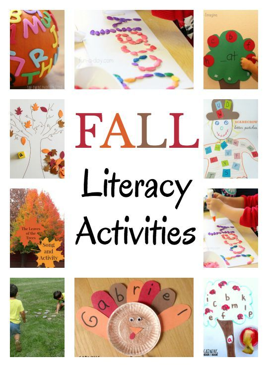 Lots of fall literacy activities to work on learning the alphabet, teaching a child their name, reading, book lists and more!