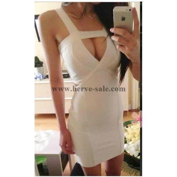 Herve Leger White KeyHole Bandage Dress HT122W