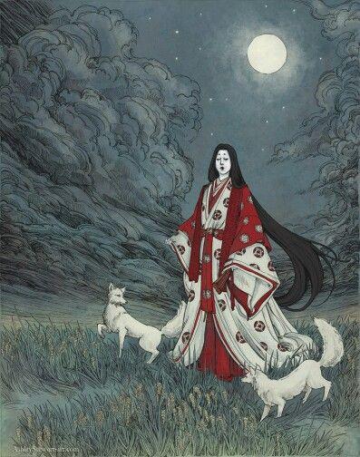 Inari Okami - Japanese goddess of rice, sake, fertility, tea, foxes and kitsune (faelike fox spirits), agriculture, and industry.