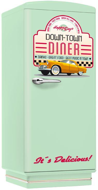 Klassischer Amerikanischer Retro Kühlschrank In Hellblau Mit Down Town  Diner Aufdruck Günstig Im American Warehouse Shop Kaufen.