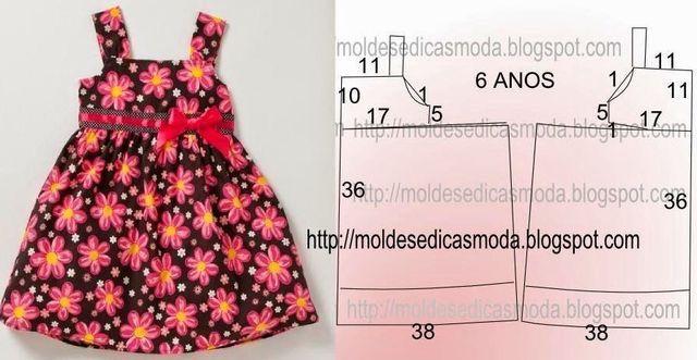 ARTE COM QUIANE - Paps,Moldes,E.V.A,Feltro,Costuras,Fofuchas 3D: Molde Vestido de verão para crianças