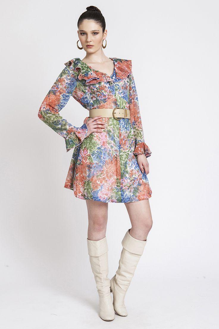 80′ler Renkli Çiçek Desenli Vintage Elbise | AU Vintage