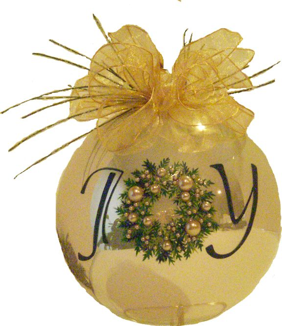 A delicately hand painted Christmas ornament to grace Christmas trees from one generation to the next. The champagne gloss six inch diameter glass ornament is adorned with an hand painted Christmas wreath embellished with faux pearls of many sizes and topped with a delicate shear gold ribbon and snow covered pine needles. Designed to be a treasured heirloom for many years to come.