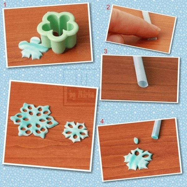 Snowflakes - can be made from homemade salt dough for decoration - or gingerbread so they could be decorations and eaten. : )