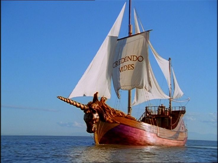 "the ship Unicorn,with the slogan to the movie,Credendo Vides,latin for ""By Believing One Sees"""