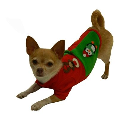 Holiday Patchwork Dog Tank from   SimplyDogStuff.com, $38.98, features  luxurious soft red and green velvet, custom snowman, ornament, penguin,  reindeer appliques.