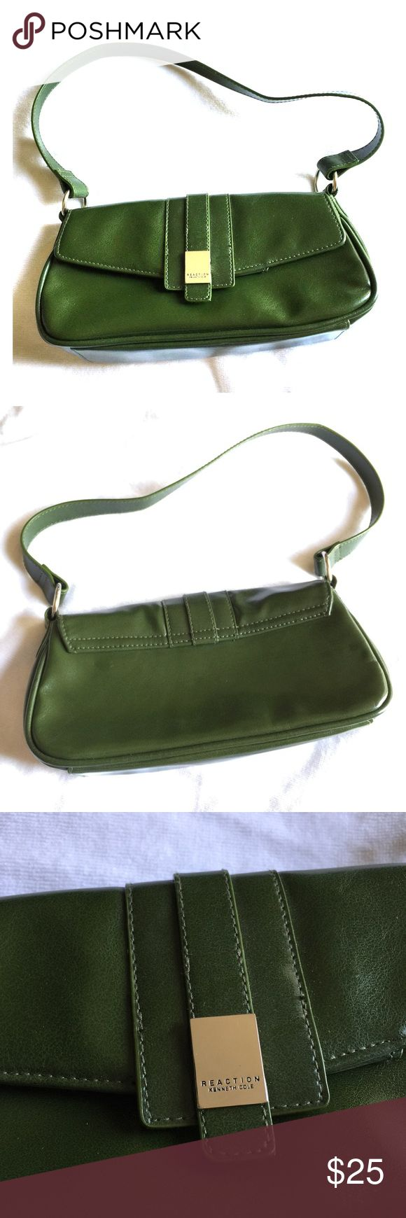 Reaction Kenneth Cole Green Shoulder Bag Reaction Kenneth Cole Green Shoulder Bag. Interior zipper and two pockets. Great condition besides 1 spot on the inside. Kenneth Cole Reaction Bags Shoulder Bags