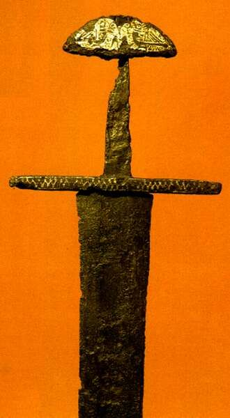 Double-edged sword from the bed of the Danube, 11th century (Budapest)  Budapesti Történeti Múzeum. Főszerk.: Buzinkay Géza.  Corvina, 1995, page 47, picture No 43. Budapesti Történeti Múzeum.