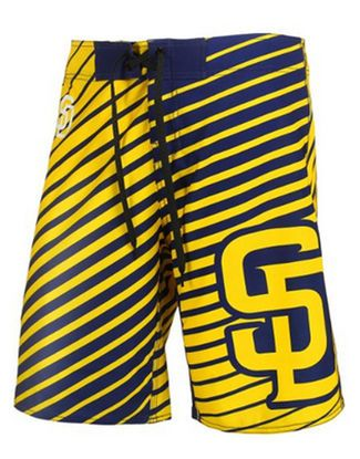 San Diego Padres Men's Stripes Logo Boardshorts Swim Trunks