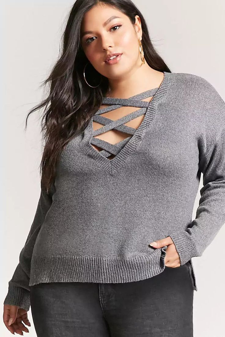 Product Name:Plus Size Strappy Sweater-Knit Top, Category:plus_size-main, Price:19.9