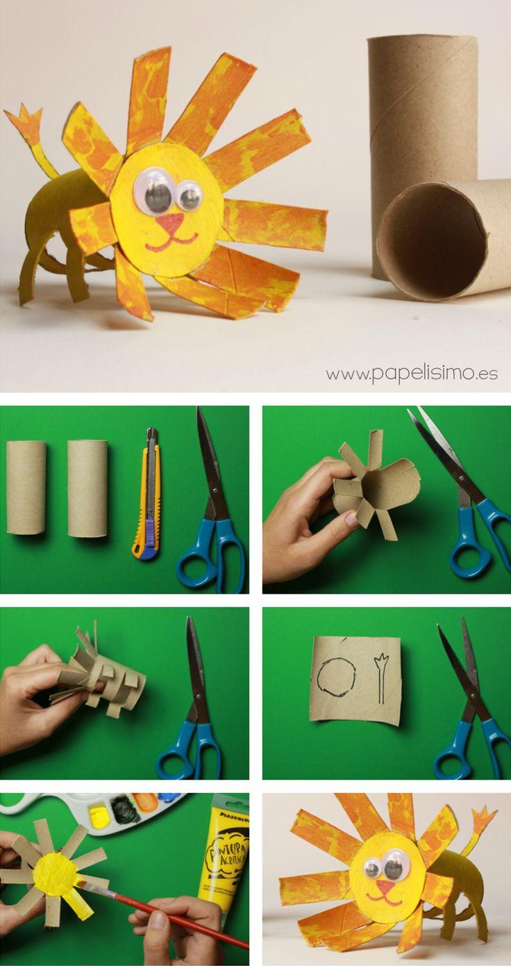 ANIMALES: LEÓN (Manualidades con rollos de papel higiénico) | http://papelisimo.es/animales-leon-manualidades-con-rollos-de-papel-higienico/