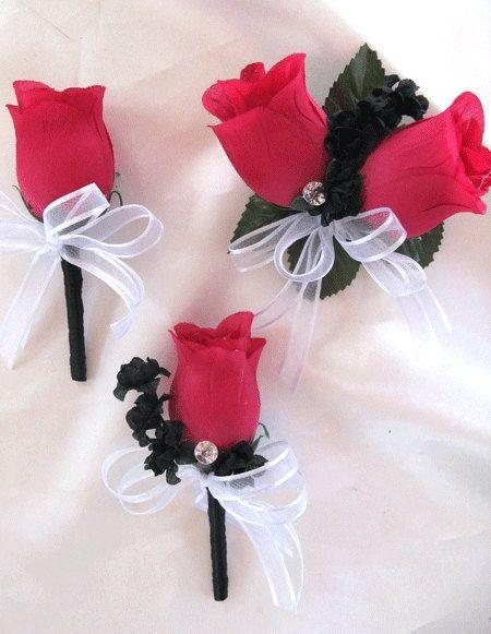 photos of brides boquet with artificial flowers   Wedding Bouquet Bridal Silk flowers White FUCHSIA BLACK Hot PINK 17pc ...