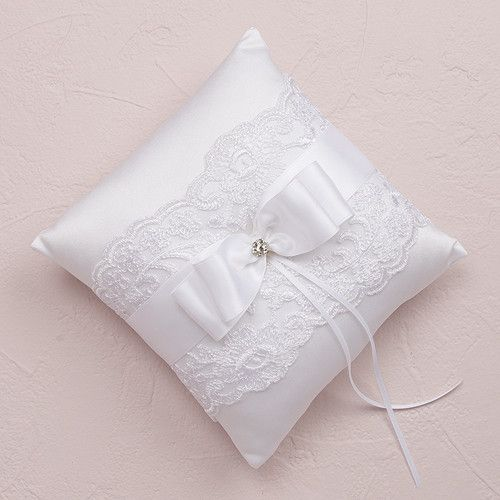 Beverly Clark French Lace Collection Ring Pillow White or Ivory