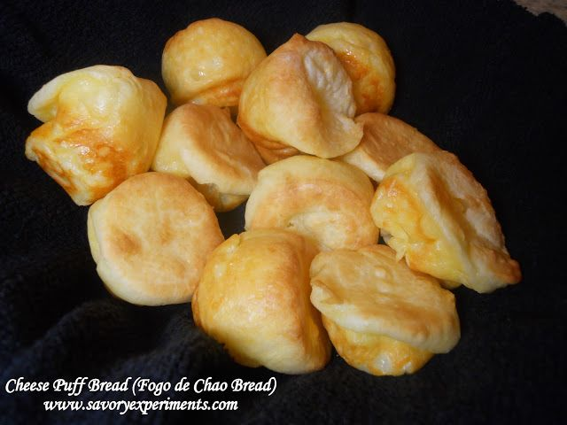 Cheese Puff Bread (Fogo de Chao Bread) Recipe Breads with tapioca flour, whole milk, unsalted butter, salt, shredded parmesan cheese, eggs, sugar, olive oil, cooking spray