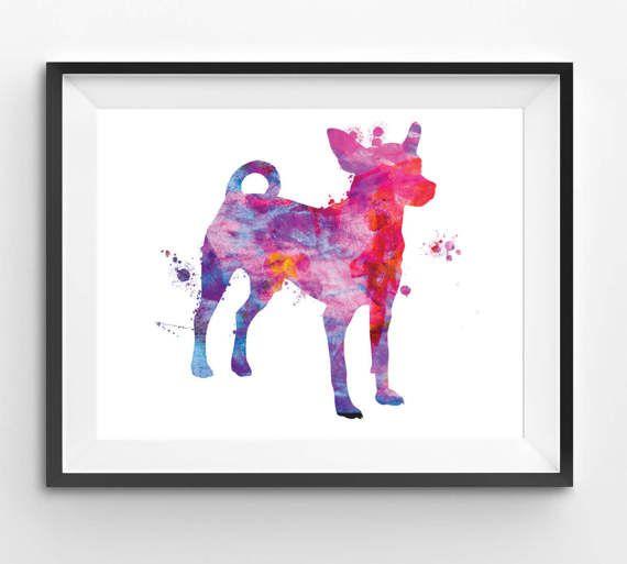 Colorful Chihuahua Watercolor Print Dog Print Dog Digital
