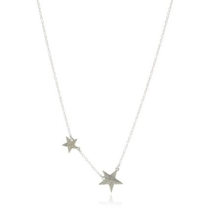 Super Star Sterling Silver Double Star Charm NecklaceBirthday