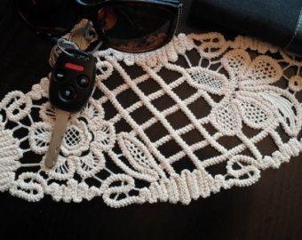 White Point Lace Romanian Crochet Doily Floral by ValeriasShop