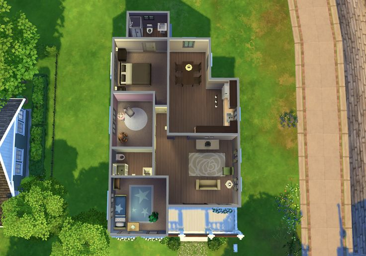 """smubuh: """" Key Craft Starter House Cute little starter home for your sims family! Also available in the Sims 4 Gallery. Hope you enjoy! (base game only, no cc) • 3 bedrooms, 2 bathrooms • $18,448 •..."""