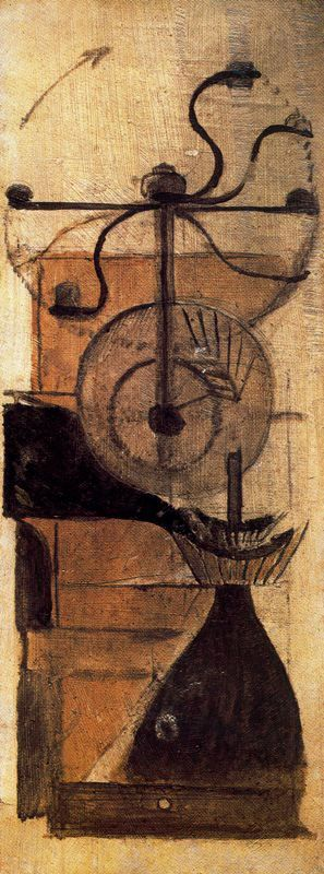 Marcel Duchamp, Moulin à café [Coffee Mill], 1911, Oil and pencil on board, 330 x 127 mm. © Succession Marcel Duchamp/ADAGP, Paris and DACS, London 2002