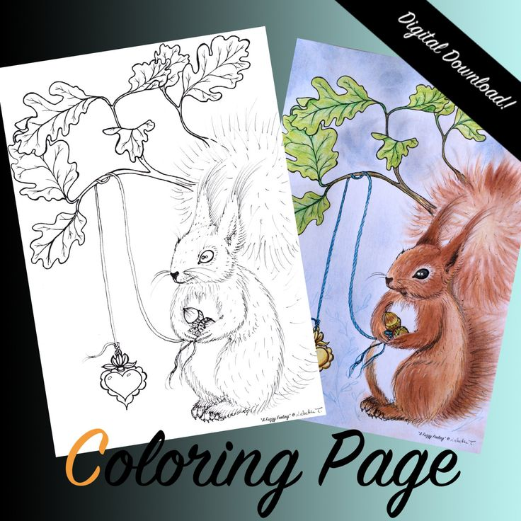 "COLORING PAGE: ""A Fuzzy Feeling"". Coloring for adults, Instant DOWNLOAD, printable, squirrel, oak leafs, heart. by ArtLisbethThygesen on Etsy"