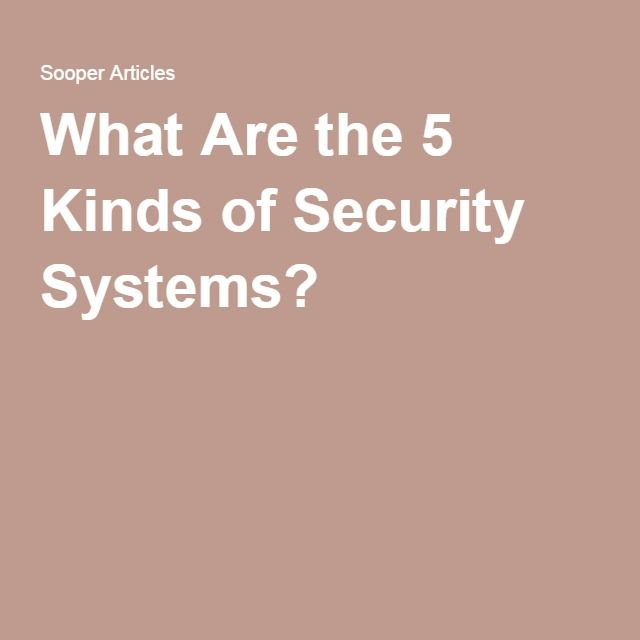 What Are the 5 Kinds of Security Systems?