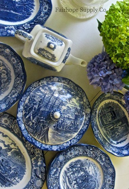 Picked up Liberty Blue salad and bread plates today to go with a dinner one I already have. I will mix and match them with my other blue transferware.