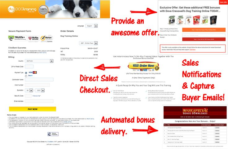 Use our Clickbank Campaign Module which is fully integrated to Clickbank which allows for:  1) Automated bonus delivery for affiliate sales. 2) Lead capture of customers. 3) Direct sales check-out! Use this for ads and is Adwords compliant i.e. Bridge Policy compliant.