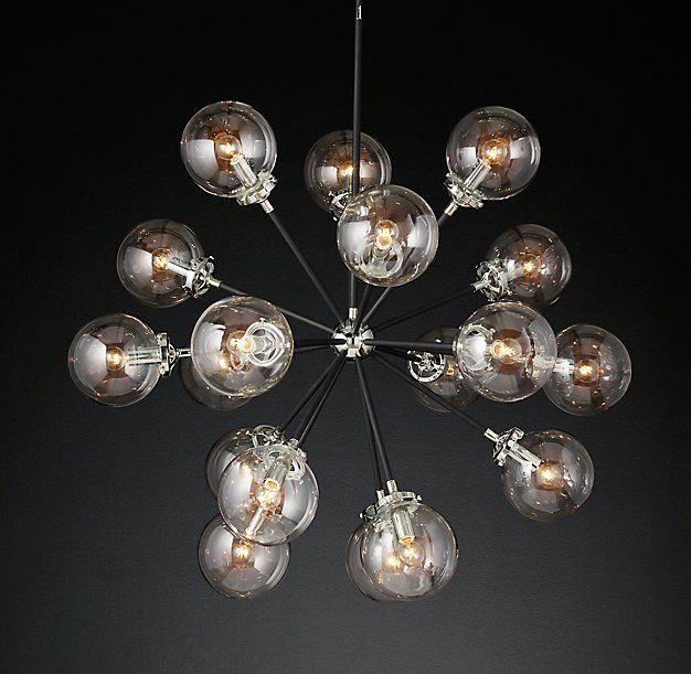 """Bistro Globe Clear Glass Burst Chandelier 32"""""""