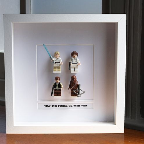 framed Lego mini figures | when they stop playing, but don't stop loving.