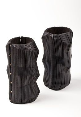Morph Cuffs (left with brass inserts / right all leather) (Ebony) Donna Karan Urban Zen collection