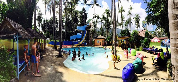 Coco Splash Waterpark in Lamai is a day of waterslides bungee trampoline bumper cars and lots more. Adults have a jacuzzi to relax and watch the children tire themselves out. http://www.welovekohsamui.com/listing/coco-splash-adventure-waterpark-samui/