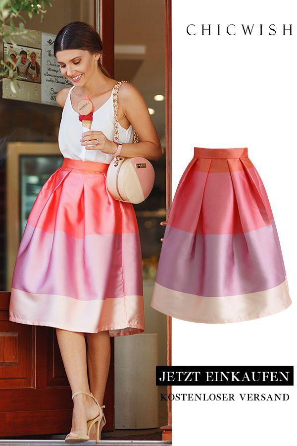 Lollipop color stripes Printed midi skirt