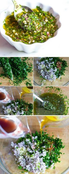 Easy, Homemade Chimichurri Sauce Recipe - Chimichurri is a zesty, green sauce made with fresh herbs, garlic, vinegar, chili pepper and olive oil that livens up pretty much anything you throw at it. #chimichurri #sauce