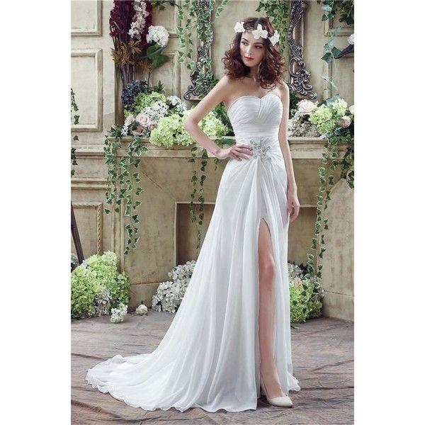 Sheath Strapless High Slit Corset Back Chiffon Beach Wedding Dress ❤ liked on Polyvore featuring dresses and wedding dresses