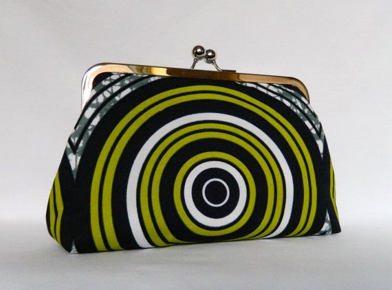 African Print Clutch Green Clutch African Clutch by TheHeartLabel