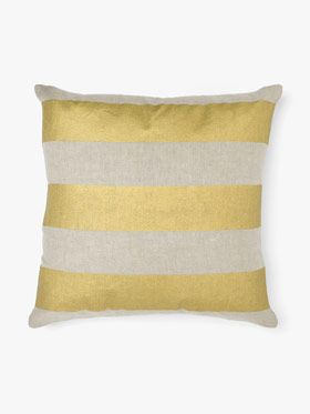 Wide stripe cushion in gold by Aura, available at Forty Winks.