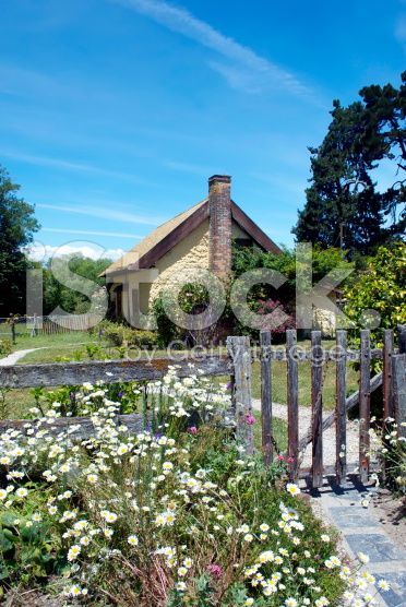 Somerset Farm Settlers Cottage, Moutere, New Zealand royalty-free stock photo