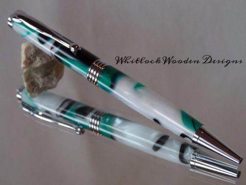 Chrome Streamline Unique Handmade Pen Green, Black & White