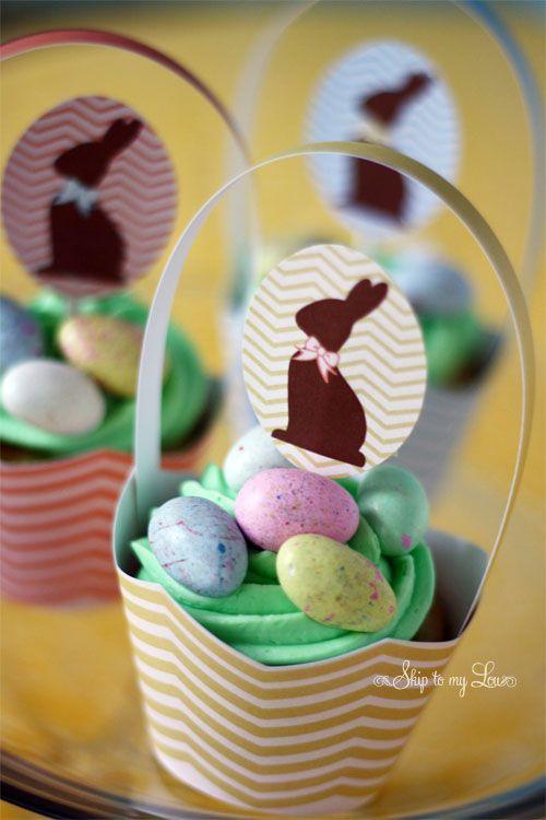 Chevron Easter cupcake basket printables @skiptomylou